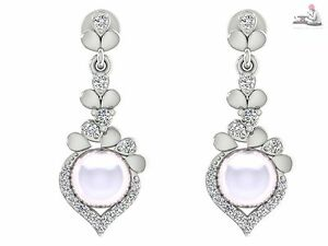 18k White Real gold Certified DIAMOND Southsea Pearl Drop Earrings For Wedding