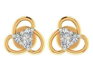 0.16CT Natural DIAMOND 14k yellow Solid gold Stud earrings Jewelry For Wedding
