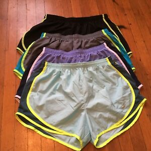 Nike Large Dri-Fit Running Shorts Lot Of 4 Black Gray Carolina Blue Solid