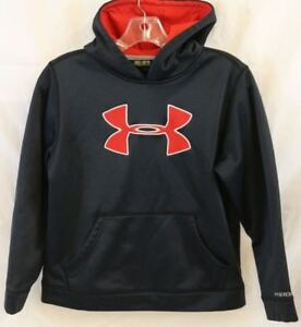 UNDER ARMOUR Size Youth Medium Black Big Red Logo Storm Pullover Hoodie 1240249