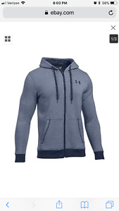 NWT Under Armour Men's UA Rival EOE Fitted Full Zip Fleece Hoodie Navy Size XL