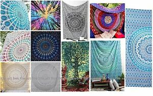 Lot of 5 Indian tapestry hippie mandala wall hanging Bohemian bedspread throw