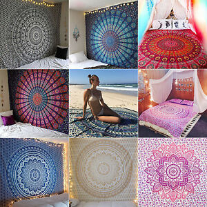 Pack of 5 Indian tapestry wall hanging hippie mandala Bohemian bedspread Twin