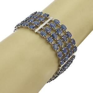 61ct Sapphire & Diamond 18k White Gold Multi-Strand Wide Bracelet
