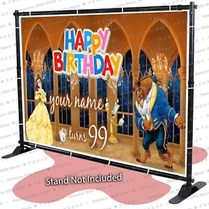 Beauty and the beast castle Personalized birthday banner backdrop party deco kid