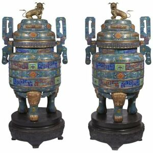 Pair of Monumental Chinese Blue Cloisonne Enamel Censer Early 20th Century
