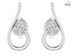 0.09ct Certified Natural Diamond 14kt white gold Stud Earrings For Wedding gift