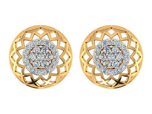 14kt yellow Solid gold 0.60CT Certified Diamond Women Stud earrings for Wedding