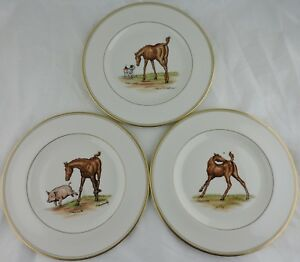 ABERCROMBIE FITCH VINTAGE EQUESTRIAN HORSEDOGPIG DINNER PLATE SET 3 SIGNED