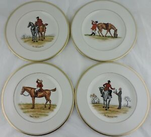 ABERCROMBIE FITCH VINTAGE EQUESTRIAN HORSEHUMOROUS DINNER PLATE SET 4 SIGNED