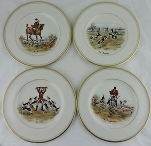 ABERCROMBIE FITCH VINTAGE EQUESTRIAN HORSEFOXHUNTING SALAD PLATE SET 4 SIGNED