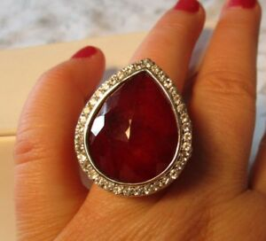HSN 27.68ct Red Corundum Doublet & White Topaz Sterling Silver Pear Shaped Ring