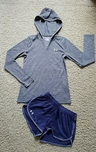 EUC Lot of 2 Women's XSGirl's L Under Armour Heatgear Shorts & Hooded Shirt