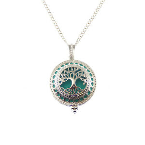 1pcs Essential Oil Diffuser Silver Brass Life Tree Locket Pendant Charm Necklace $2.84