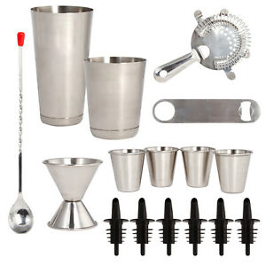 Stainless Steel 16 Pcs. Cocktail Shaker Set - Complete Professional Bar Tool Set