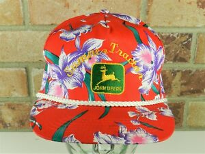 JOHN DEERE Sumner Tractor Advertising SNAPBACK HAT CAP RED Tropical Flower embro