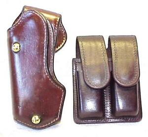 VINTAGE  DAVIS LEATHER - SPEED COMPETITION  2-PIECE HOLSTER SET FOR  BERETTA 92