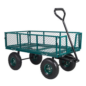 Home&Garden Utility Cart Steel Mesh/Wagon with Removable Sides 550Lbs Capacity