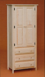 NEW AMISH Custom Made Solid Pine UNFINISHED Linen Cabinet with Drawers