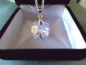 ❤️ HEART Necklace w authentic Swarovski Crystal Aurora AB Sterling Silver 925