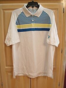 r NWT Mens Under Armour Loose Heat Gear Golf Polo Size Medium White   MSRP $55