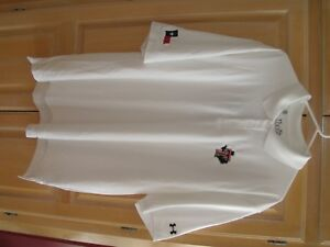 vv NWT Mens Under Armour Loose Heat Gear Golf Polo Size Medium White   MSRP $55