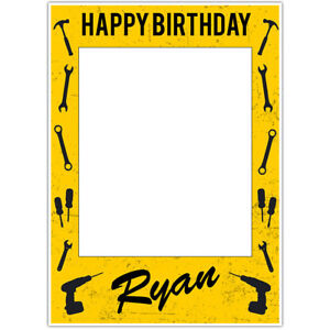 Construction Birthday Selfie Frame Poster