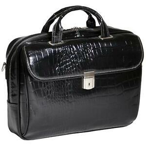 Siamod Monterosso IGNOTO 17 Laptop Briefcase Italian Croco Leather Black