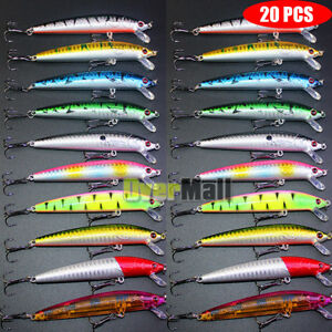 Lot 20pcs Kinds of Fishing Lures Crankbaits Hooks Minnow Baits Tackle Crank USA