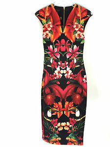 TED BAKER TROPICAL TOUCAN FLORAL CAP SLEEVE DRESS SIZE 0 1 UK 6 8