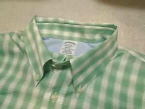 Brooks Brothers No-iron Green Check Sport Shirt with Cuff Detail NWT XL $92