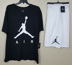 NIKE AIR JORDAN JUMPMAN DRI-FIT OUTFIT SHIRT + SHORTS BLACK WHITE NEW (SIZE 2XL)