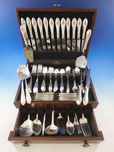 Pointed Antique by Ramp;B Damp;H Sterling Silver Flatware Set 12 Service 90 Pcs Dinner $5520.75