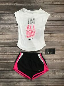 Nike 2pc Girls Set Shorts Tee Shirt Dri Fit 3T Athletic Pink Black NWT