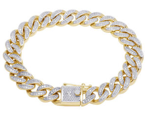 Men's 10K Yellow Gold Real Diamond Miami Cuban Link Bracelet 2 CT 11mm 8.5