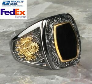 turkish jewelry 925 Sterling Silver black onyx stone Men Man ring ALL SİZE us 65