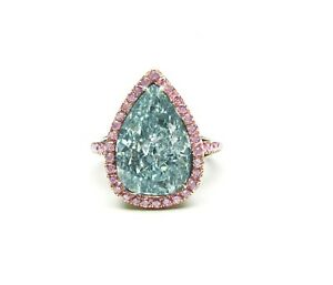 5.42 Carat Natural Fancy Blue Pear Shaped Diamond Gold Platinum Ring