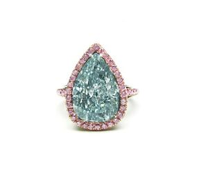 .99 cent Jewelry Auctions fancy Blue Pear Shaped Diamond Gold Platinum Ring