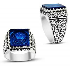 turkish jewelry 925 Sterling Silver Blue Sapphire Mens Man ring us ALL SİZE 965