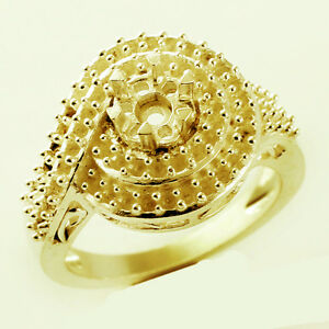 Semi Mount Cocktail Ring In Round Shape 2.50 MM Natural Solid Gold Lady Jewelry