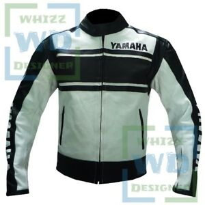 JACKET FOR MOTORCYCLE RIDERS YAMAHA 5241 Black Motorbike Cow Leather Armour Coat