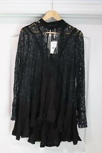 Free People Secret Origins Pieced Lace Long Sleeve Tunic Dress Black Large NWT