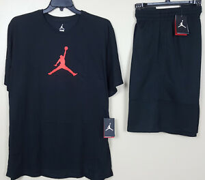 NIKE AIR JORDAN DRI-FIT OUTFIT SHIRT + SHORTS BLACK INFRARED RARE NEW (SIZE 3XL)