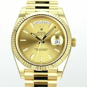 Rolex Men's Watch 40mm Day-Date 228238 18K Yellow Gold Champagne Stick Dial