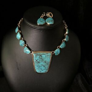 Charles Albert Real Turquoise Necklace & Earring Set