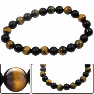 Men's Matt Black Onyx and Tigers Eye Gemstone Beaded Stretch Bracelet Nice Gift