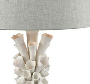 High End Designer Whimsical Table Lamp White Flowers Gray Linen Shade Horchow