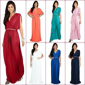 Dolman Sleeve Dress Long V Neck Cocktail Bridesmaid Maxi Dresses Evening Elegant