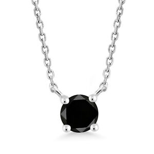 0.27 Ct Round Black Diamond 10K White Gold Necklace