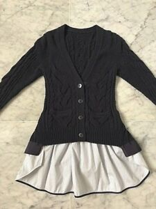 SACAI LADIE'S NAVY CABLE KNITTED CARDIGAN w EXTENDED DETACHABLE BACK TAIL- SZ 1